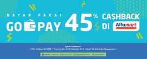 promo belanja bulan September 2018, cashback 45% setiap hari di Alfamart