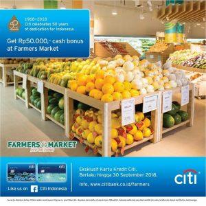 promo belanja bulan September 2018, gratis cash bonus Rp 50.000 Farmers Market