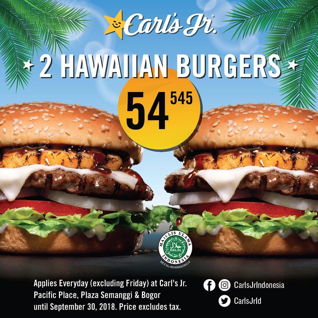 promo makanan bulan September 2018, info promo terbaru 2 hawaiian burgers-nya Carl's Jr