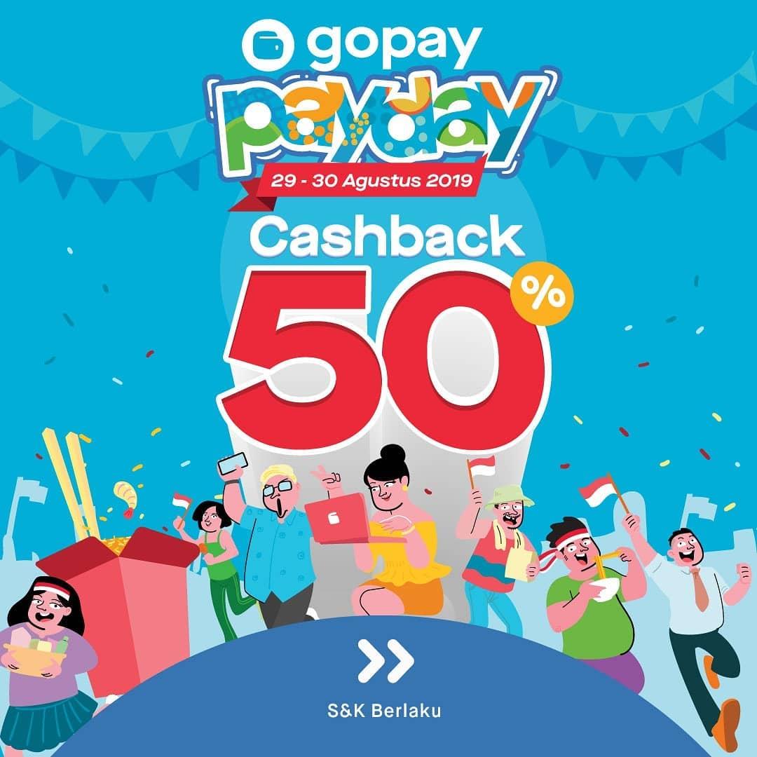 Gopay Gojek: GoPay Pay Day Agustus Ada Cashback 50% Di Berbagai Rekan