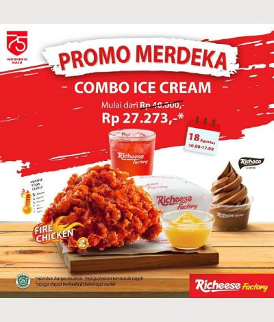 Richeese Factory Promo Merdeka, Jakartahotdeal.com
